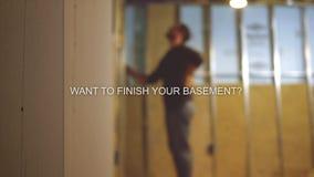 Σειρά κειμένων αναδόχων υπογείων λήξης Defocused - θελήστε να τελειώσετε το υπόγειό σας απόθεμα βίντεο