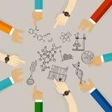 Σειρά μαθημάτων σπουδαστών Πανεπιστημιακών κολεγίων συμβόλων εκπαίδευσης επιστήμης για τα υλικά επιστήμης συνεργασία επιστημόνων  απεικόνιση αποθεμάτων