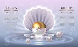 Σειρά ομορφιάς καλλυντικών, συσκευασία κρέμας μαργαριταριών ασφαλίστρου για τη φροντίδα δέρματος Πρότυπο για την αφίσα σχεδίου, α Στοκ Εικόνα