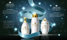 Σειρά ομορφιάς καλλυντικών, αγγελίες του σαμπουάν ασφαλίστρου, σαπούνι, κρέμα, που τίθεται για τη φροντίδα δέρματος Πρότυπο για τ Ελεύθερη απεικόνιση δικαιώματος