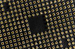 Σειρά πλέγματος καρφιτσών ΚΜΕ - κλείστε γαρμένος - κατώτατο σημείο του μικροεπεξεργαστή υπολογιστών Στοκ Φωτογραφίες