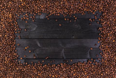 σειρά πλαισίων πλαισίων τροφίμων καφέ φασολιών Τοπ άποψη με το διάστημα αντιγράφων Στοκ εικόνα με δικαίωμα ελεύθερης χρήσης