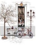 Σειρά σκίτσων των όμορφων παλαιών απόψεων πόλεων με τους καφέδες Στοκ Εικόνα