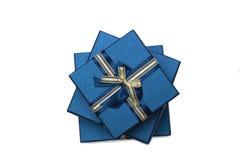 Σειρά συλλογής των μπλε κιβωτίων δώρων με τα τόξα Στοκ Εικόνα