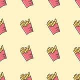 σειρά τηγανιτών πατατών τροφίμων ανασκόπησης Διανυσματική απεικόνιση