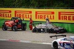 Σειρά της GT Blancpain BMW M6 που κολλιέται στην άμμο σε Monza Στοκ Εικόνες