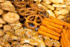 Σειρά των αλμυρών πρόχειρων φαγητών Στοκ εικόνες με δικαίωμα ελεύθερης χρήσης