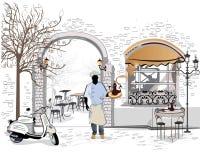 Σειρά των καφέδων οδών με έναν μάγειρα διανυσματική απεικόνιση