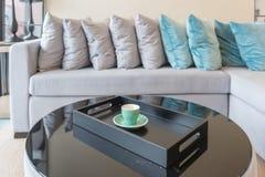 σειρά των μαξιλαριών στο σύγχρονο καναπέ στο σύγχρονο καθιστικό Στοκ Εικόνες