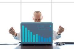 Σειρά χειρονομίας επιχειρηματιών που δίνεται με γραφική παράσταση - ικανοποιημένος Στοκ Φωτογραφία