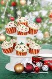 σειρά Χριστουγέννων κέικ cupca Στοκ Εικόνες
