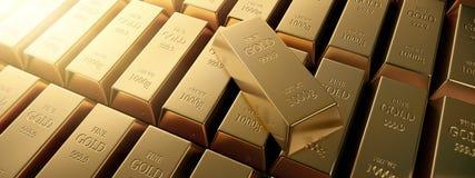 Σειρά χρυσών φραγμών και ενός ενιαίου λεπτού χρυσού φραγμού ελεύθερη απεικόνιση δικαιώματος