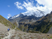 Σειρά Annapurna από το στρατόπεδο βάσεων Tilicho, Νεπάλ Στοκ Φωτογραφία