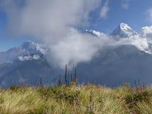 Σειρά Annapurna από το Hill Poon, Νεπάλ Στοκ Εικόνες