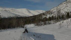 Σειρές βουνών που καλύπτονται με το παχύ στρώμα και το δάσος χιονιού απόθεμα βίντεο