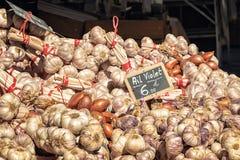 Σειρές του σκόρδου για την πώληση στη χειροτεχνική αγορά σε Ile rousse στοκ εικόνες με δικαίωμα ελεύθερης χρήσης