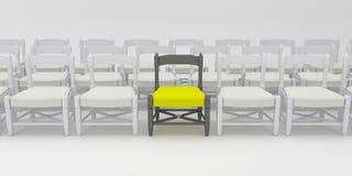 Σειρές των άσπρων καρεκλών με έναν κίτρινο Μαύρο Έννοια ευκαιρίας εργασίας, ηγεσίας και στρατολόγησης τρισδιάστατος δώστε τρισδιά ελεύθερη απεικόνιση δικαιώματος