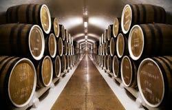 Σειρές των βαρελιών κρασιού σε έναν υπόγειο υπόγειο θάλαμο Στοκ Φωτογραφίες