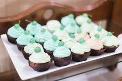 Σειρές των εύγευστων cupcakes σε μια στάση στο κόμμα τομέα εστιάσεως Στοκ φωτογραφία με δικαίωμα ελεύθερης χρήσης