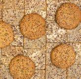 Σειρές των διάφορων μπισκότων κουλουρακιών και βρωμών Στοκ φωτογραφίες με δικαίωμα ελεύθερης χρήσης