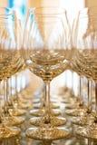 Σειρές των κενών γυαλιών κρασιού. Στοκ εικόνες με δικαίωμα ελεύθερης χρήσης