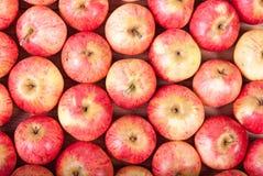 Σειρές των κόκκινων μήλων σε μια ξύλινη επιφάνεια Τοπ όψη Στοκ Φωτογραφία