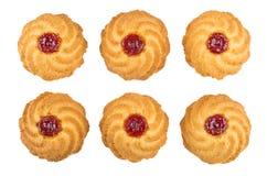 Σειρές των μπισκότων που απομονώνονται στο άσπρο υπόβαθρο Στοκ Φωτογραφία