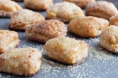 Σειρές των μπισκότων τυριών εξοχικών σπιτιών που καλύπτονται στη ζάχαρη Στοκ Εικόνες