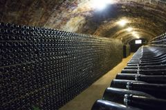 Σειρές των μπουκαλιών κρασιού στο κελάρι στοκ εικόνες με δικαίωμα ελεύθερης χρήσης