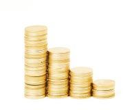 Σειρές των νομισμάτων σωρών Στοκ Εικόνες