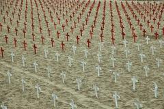 Σειρές των σταυρών στην παραλία της Σάντα Μόνικα Στοκ Εικόνα