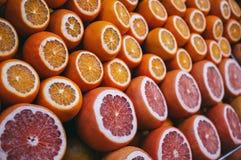 Σειρές των ώριμων juicy πορτοκαλιών και των γκρέιπφρουτ περικοπών Στοκ εικόνα με δικαίωμα ελεύθερης χρήσης