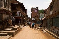 Σεισμός οδοί Bhaktapur, Νεπάλ στοκ φωτογραφία με δικαίωμα ελεύθερης χρήσης