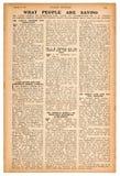 Σελίδα εφημερίδων με το αγγλικό εκλεκτής ποιότητας περιοδικό κειμένων στοκ εικόνα