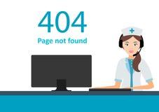 Σελίδα 404 με μια νοσοκόμα ή έναν γιατρό Λάθος Ιστού ή μην σελίδα ελεύθερη απεικόνιση δικαιώματος