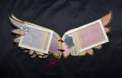 Σελίδες ενός χειροποίητου λευκώματος φωτογραφιών με τα φτερά peacock Στοκ Φωτογραφίες