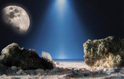 Σεληνιακό τοπίο φαντασίας με τον ουρανό Στοκ Φωτογραφίες