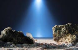 Σεληνιακό τοπίο φαντασίας με τον ουρανό Στοκ φωτογραφία με δικαίωμα ελεύθερης χρήσης