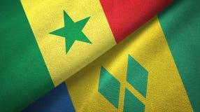 Σενεγάλη και Άγιος Βικέντιος και Γρεναδίνες δύο υφαντικό ύφασμα σημαιών απεικόνιση αποθεμάτων