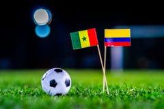 Σενεγάλη - Κολούμπια, ομάδα Χ, Πέμπτη, 28 Ποδόσφαιρο Ιουνίου, Παγκόσμιο Κύπελλο, Ρωσία 2018, εθνικές σημαίες στην πράσινη χλόη, ά στοκ φωτογραφίες με δικαίωμα ελεύθερης χρήσης
