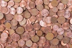 Σεντ του ευρώ ή των νομισμάτων χαλκού Στοκ Φωτογραφία
