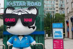 Σεούλ, Νότια Κορέα 10.2017 ΣΕΠΤΕΜΒΡΙΟΥ, Δρόμος αστεριών Κ στο gangnam Νότια Κορέα Στοκ εικόνα με δικαίωμα ελεύθερης χρήσης
