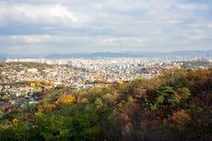 Σεούλ από το βουνό Bugaksan στοκ εικόνες