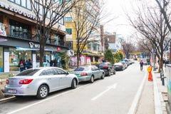 Σεούλ, Νότια Κορέα - 8 Μαρτίου 2016: Περιοχή Hongdae, Hongik στο κατακάθι Στοκ Φωτογραφίες