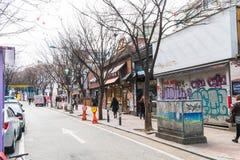 Σεούλ, Νότια Κορέα - 8 Μαρτίου 2016: Περιοχή Hongdae, Hongik στο κατακάθι Στοκ Εικόνες