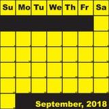 2018 Σεπτέμβριος κίτρινος στο μαύρο ημερολόγιο αρμόδιων για το σχεδιασμό απεικόνιση αποθεμάτων