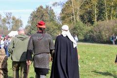 Σεπτέμβριος, 16 2017, Τούλα, Ρωσία - ο διεθνής στρατιωτικός και ιστορικός τομέας ` φεστιβάλ ` Kulikovo: θεατές και συμμετέχοντες Στοκ εικόνα με δικαίωμα ελεύθερης χρήσης