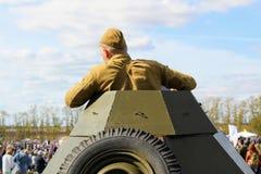 Σεπτέμβριος, 16 2017, Τούλα, Ρωσία - ο διεθνής στρατιωτικός και ιστορικός τομέας ` φεστιβάλ ` Kulikovo: Κόκκινος στρατιώτης στρατ Στοκ Εικόνα