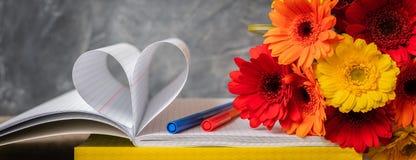1 Σεπτεμβρίου, ημέρα δασκάλων `, πίσω στο σχολείο ή το κολλέγιο, προμήθειες, μια δέσμη του gerbera, έμβλημα Στοκ Εικόνες
