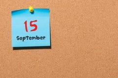 15 Σεπτεμβρίου Ημέρα 15 του μήνα, ημερολόγιο αυτοκόλλητων ετικεττών χρώματος στον πίνακα ανακοινώσεων Χρόνος φθινοπώρου Κενό διάσ Στοκ φωτογραφίες με δικαίωμα ελεύθερης χρήσης